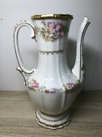 Antique Limoges France Elite Teapot Coffee Pot Gold Floral Design