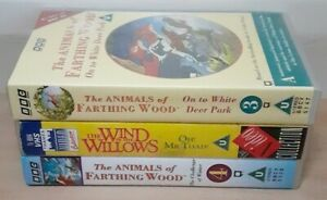 x3 Childrens VHS tapes. Animals of Farthing Wood 3,4, The Wind in the Willows.