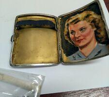 Vintage pitillera de plata esterlina con pintura
