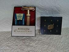 Vintage 1960 Gillette Executive Gold Plated Fatboy Razor & Case United Airlines