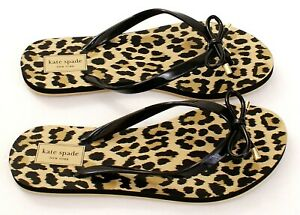 Kate Spade Black Nova Leopard Print Thong Sandals Flip Flops Women's NEW