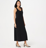 Susan Graver Liquid Knit Sleeveless Maxi Dress - Navy - 1X