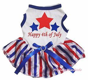 Happy 4th July Star White Cotton Top RWB Striped Skirt Pet Dog Puppy Cat Dress