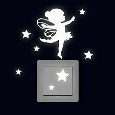 Leuchtsticker Wandtattoo Elfe Fee Ballerina mit Sterne fluoreszierend M2327