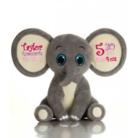 Teddy bear Pearsonalised Elephant.  New Baby Gift. Similar to a Cubbie.