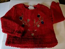 Lightweight Women's Fleece Long Sleeve Christmas Pullover Large
