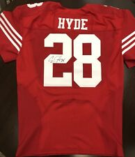 CARLOS HYDE SIGNED SF 49ERS NIKE AUTHENTIC 2016 Pro Cut GAME ISSUED JERSEY