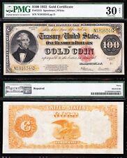 "RARE Bold & Crisp VF++ net 1922 $100 ""THOMAS BENTON"" GOLD CERTIFICATE! PMG 30/n!"