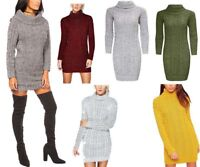 Womens Chunky Cable Knitted Polo Roll Neck Long Sleeve Jumper Mini Dress UK 8-22