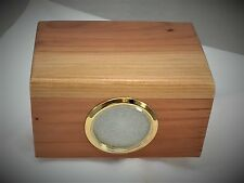 Small redwood pet cremation urn with picture frame - simple round over top