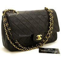 "CHANEL Authentic 2.55 Double Flap 10"" Chain Shoulder Bag Black Quilted Lamb i16"