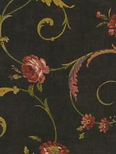 Wallpaper Designer Rose Floral Vine Scroll Red, Green, Tan, Plum on Black