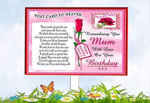MUM MEMORIAL BIRTHDAY GRAVESIDE KEEPSAKE POSTCARD TO  HEAVEN CARD & HOLDER