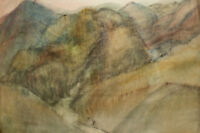 ORIGINAL VINTAGE WATERCOLOR PAINTING LANDSCAPE MOUNTAIN