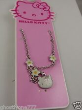 Hello Kitty flower Daisy Sanrio necklace  silvertone cute for spring