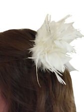 White Feather & Tinsel Hair Clip Slide 1920s Hen Cabaret Fancy Dress Accessory