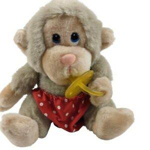 Russ Baby Chee Chee Monkey With Pacifier & Diaper Plush Stuffed Animal 6''