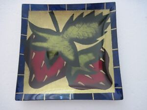 """Glass strawberry candy dish, 7 1/2"""" square, signed"""