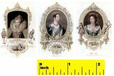 Miniature  Queen Victoria, Elizabeth 1st, Queen Anne Prints  -  Dollhouse 1:12