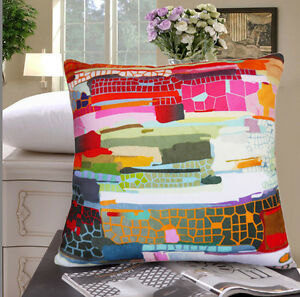 ELEGANT SQUARE VELVET PILLOW CUSHION COVER ABSTRACT PATTERN ON BOTH SIDES
