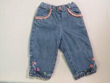 "Gymboree ""Grown With Love"" Pink Ruffled Denim Pants, 12-18 mos."