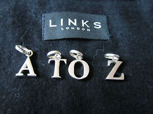 GENUINE LINKS OF LONDON STERLING SILVER OLD STYLE LETTER A TO LETTER Z CHARMS