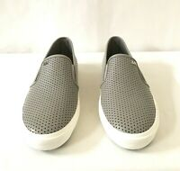 Women MK Michael Kors Boerum Double Gore Lasered Leather Slip On Sneakers Gray