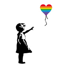 Banksy Girl with Rainbow Balloon - support NHS and Keyworkers