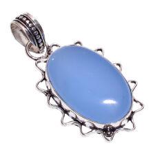 PLATA DE LEY 925 Capa hecho a mano azul calcedonia Colgante nlg-162 niña
