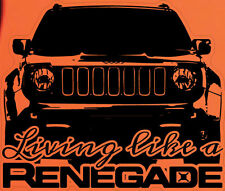 1x Living Like a Jeep Renegade Logo Graphic Vinyl Decal Sticker Vehicle Rear SUV