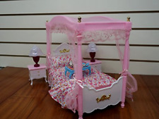 Doll Bed Dollhouse Furniture Lot Bedroom Plastic Set Barbie Size Canopy Room