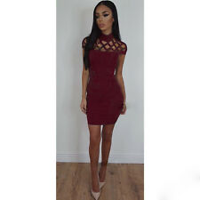 UK Women Choker High Neck Bodycon Ladies Caged Sleeves Mini Party Dress Size6-22 Xxxxss Wine Red