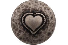 silber antik Metallknöpfe leicht gewölbt mit Herz Motiv 15mm 6 Stück