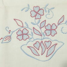 """Linens Pillowcase Large Vintage Embroidered Cotton Blue Pink Scalloped 32"""""""