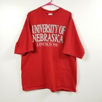 VINTAGE University Of Nebraska Cornhuskers Mens T Shirt XXL 2XL Red Savvy Adult