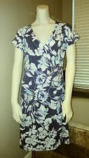 Soft Surroundings Indigo Floral Shapely Anywhere Dress Stretchy Cotton Knit Sz S