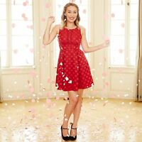 Lauren Conrad Disney Minnie Mouse Red Dot Fit & Flare Festive Party Dress