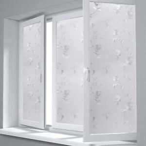 White Art Static Cling Cover Frosted Window Glass Film Sticker Privacy Home Deco