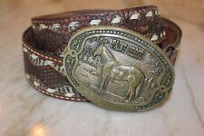 Vintage Used Tony Lama Paint Horse 1st Edition Brass Western Belt Buckle & Belt!
