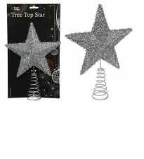 Silver Christmas Tree Top Star With Fleck Finish - 25 X 19cm