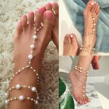 Chain Toe Ring Beach Ankle Bracelet Women Pearl Barefoot Sandal Anklet Foot