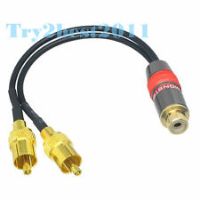 RG174 RCA jack pin to 2x RCA TV male Y type splitter Jumper pigtail Cable 6inch