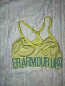 Under Armour Fitted Wide Band Racerback Sports Bra Med Neon Green Logo Unlined
