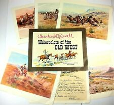 CM Russell Watercolors of the Old West 6 Reproductions Full Color Ready to Frame