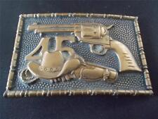 Vtg 1981 BRASS BARON BUCKLE Colt 45 Handgun Hand Gun Cowboy Westerns Stetson Hat