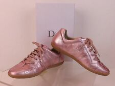 NIB CHRISTIAN DIOR GIRLS PINK METALLIC LEATHER CANNAGE LACE UP SNEAKERS 33 1.5