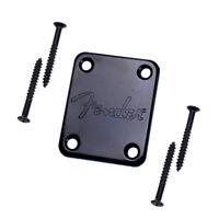 Black Fender style NECK PLATE mit Fender Logo / 4 x Screw