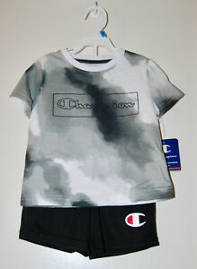 NWT Champion Infant Boys Gray Cloudy SS T-Shirt & Shorts 2pc Set sz 24M