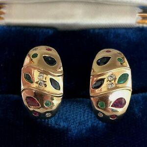 Vintage 10K Yellow Gold Diamond Sapphire Ruby Emerald Earrings 5.8 Grams Pierced