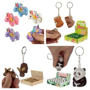Novelty Animals Pooping Keyring Squeeze and Poop Car Key Chain Birthday Gift